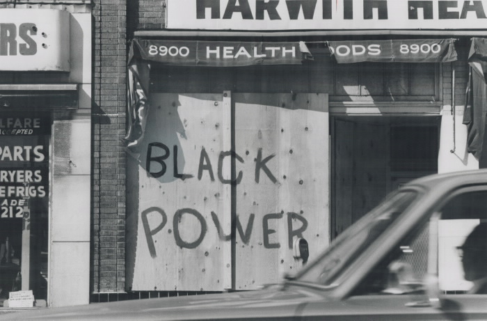 Boarded up. Black Power closes a store